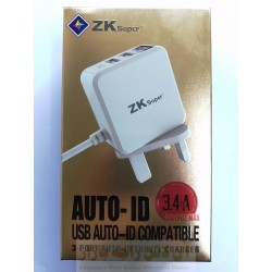 Charger ZK Super 3.4A Auto ID Compatible 4 in 1 8600