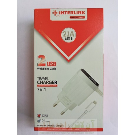 INTERLINK Auto ID Premium Charger 2.1A with Charging Indicator