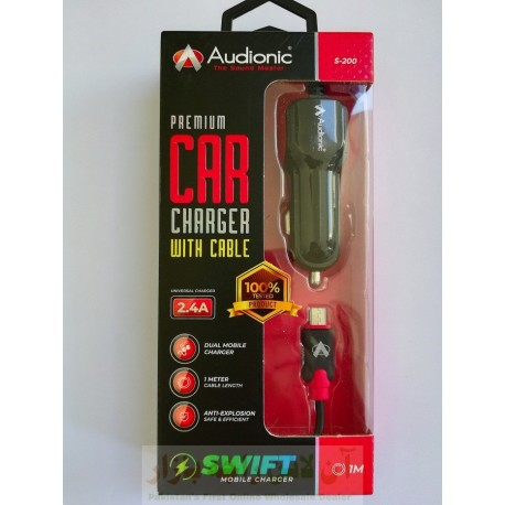 Audionic Premium Quality Car Charger S200 Micro 2.4A