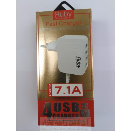 Ruby Fast Charger 4USB 7.1A Micro 8600