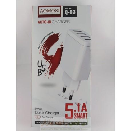 AOMOSI Auto ID Fast Charger 5.1A 4USB Q-03