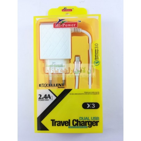 Excellent Hi Power Dual USB X3 Travel Charger 2.4A