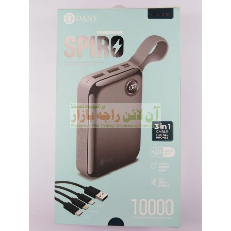 Dany SPIRO 10000mah Power Bank with 3in1 Cable