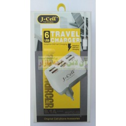 J-Cell Auto-ID 6 USB 9.1A Fast Travel Charger Micro 8600
