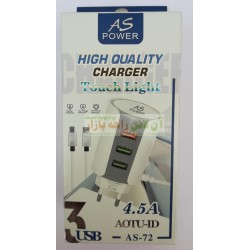 AS Super Power Auto-ID 3USB Touch Light Charger