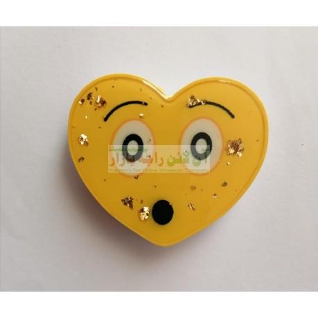 Glitter Face Heart Shaped Mobile Back Ring