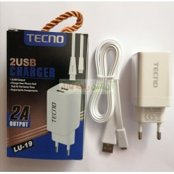 Tecno High Quality 2A Dual Port Charger with Flat Cable