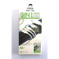 AMB Convenient Charging 3in1 Data Cable 8600, Type-C & iPhone