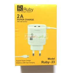 Ruby Adaptive Fast Charging 2.0A 2 USB Micro Charger Ruby-23