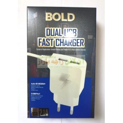 Bold Dual USB 2.1A Fast Travel Charger