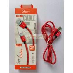 Grey 1000mm Cotton Made High Speed Micro 8600 Data Cable G-12