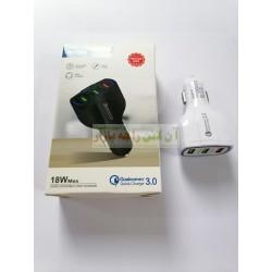 Qualcomm 18w Max 3-Usb Safe Charging Car Adapter